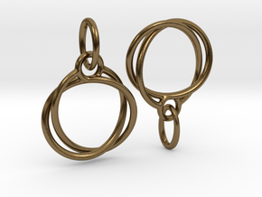 Mobius earrings jR in Polished Bronze (Interlocking Parts)