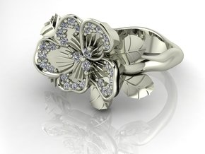 Petal flower with leaves NO STONES  in Fine Detail Polished Silver