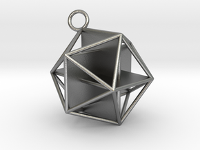 Golden Icosahedron Pendant in Natural Silver