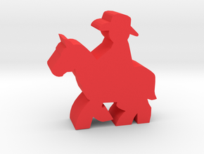 Game Piece, Cowboy, Riding Horse in Red Processed Versatile Plastic
