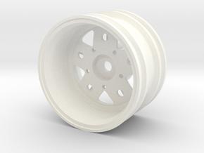 Rim004-09 Fuchs Style 9mm Offset, MSize Wheel in White Processed Versatile Plastic