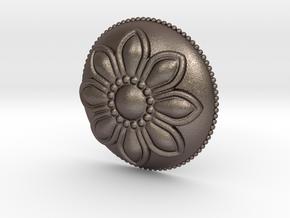 Margarita Flower Pendant in Polished Bronzed Silver Steel