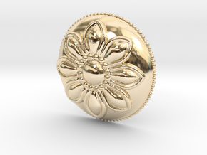 Margarita Flower Pendant in 14k Gold Plated Brass