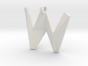 Distorted letter W in White Natural Versatile Plastic