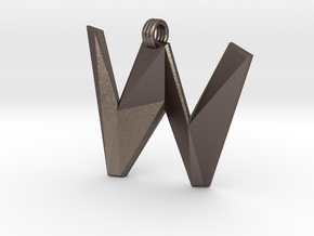 Distorted letter W in Polished Bronzed Silver Steel