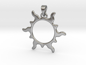 SunPendant in Interlocking Raw Silver