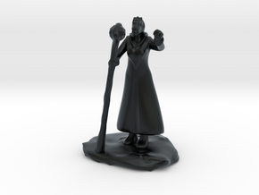 Female Dragonborn Wizard in Robe with Staff in Black Hi-Def Acrylate