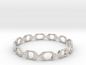 Bracelet D 2 Small in Rhodium Plated Brass