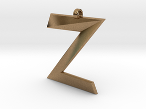 Distorted letter Z in Natural Brass