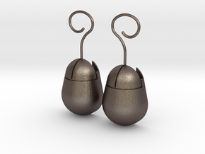 Mouse SD Card Holder Earrings (Rounded) in Natural Silver