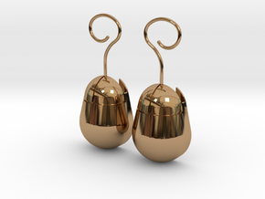Mouse SD Card Holder Earrings (Rounded) in Polished Brass