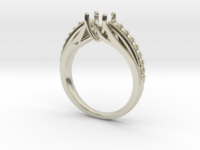 Detailed Solitaire 2 NO STONES SUPPLIED in 14k White Gold