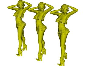 1/15 scale nose-art striptease dancer figure A x 3 in Smooth Fine Detail Plastic