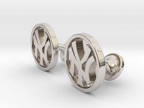 Yankees Cufflinks in Rhodium Plated Brass