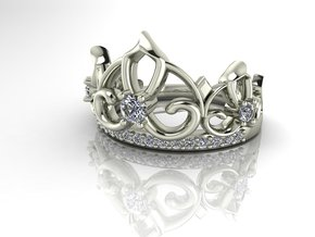 Crown ring Princess NO STONES SUPPLIED in Premium Silver