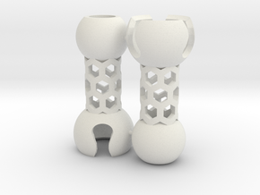 2 Small Popcorn Jointed-Tubes (Sprued) in White Strong & Flexible