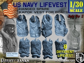 1/30 USN Hanged Kapok Lifevest Set1 in White Strong & Flexible