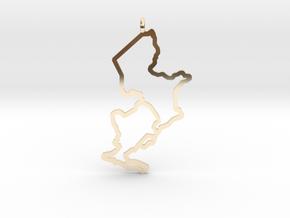 Ijsselmeer Nautical Chart Pendant in 14k Gold Plated Brass