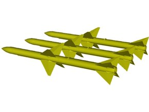 1/18 scale Raytheon AIM-7E Sparrow missiles x 3 in Smooth Fine Detail Plastic