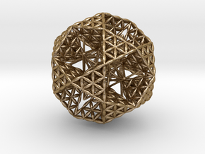 Double Nested Flower Of Life IcosiDodecahedron in Polished Gold Steel