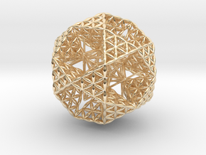 Double Nested Flower Of Life IcosiDodecahedron 2.3 in 14K Yellow Gold