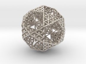 Double Nested Flower Of Life IcosiDodecahedron in Platinum