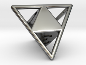 D4 with Octohedron Inside in Fine Detail Polished Silver