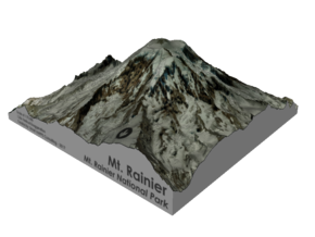 "Mount Rainier Summit Map - 5"" in Glossy Full Color Sandstone"