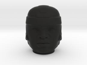 Olmec Head  in Black Natural Versatile Plastic: Small