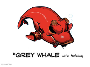 Breedingkit Gray Whale with Hellboy. in Full Color Sandstone
