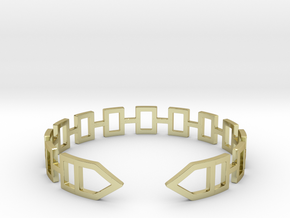 2D Houses  Bracelet Medium Size D=65mm in 18k Gold Plated Brass: Medium