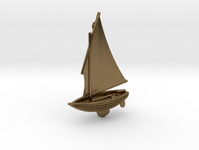 Small Old Sailing Boat Pendant 2 in Natural Bronze
