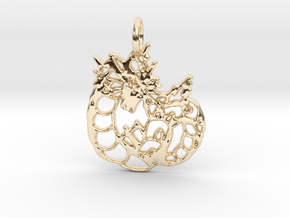 Gyarados Pendant in 14k Gold Plated Brass