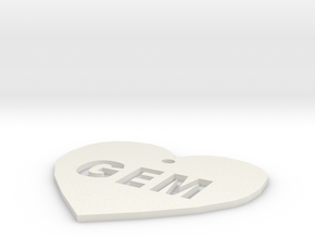 """Heart Name Tag Extra Large (3"""") in White Natural Versatile Plastic"""