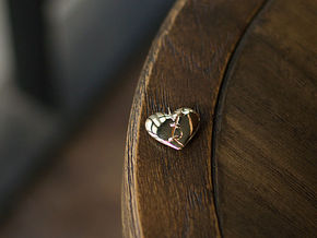 Patched Heart in Polished Brass