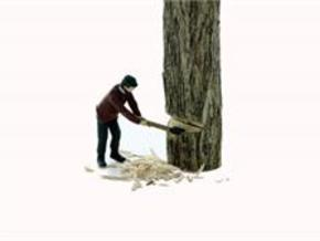 S Logging Feller #2 chopping a tree Figure in Smooth Fine Detail Plastic