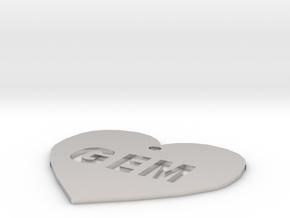 """Heart Name Tag Medium (2"""") in Platinum"""