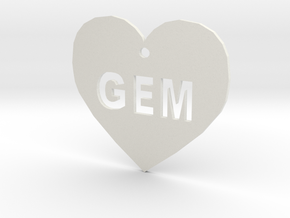 "Heart Name Tag Small (1.5"") in White Natural Versatile Plastic"