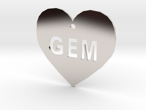 """Heart Name Tag Small (1.5"""") in Platinum"""