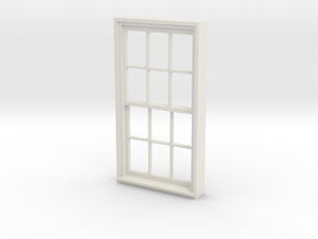 Window, 40in X 74in, 12 Panes, 1/32 Scale in White Strong & Flexible