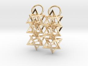 Triple Octahedron Earrings in 14k Gold Plated Brass