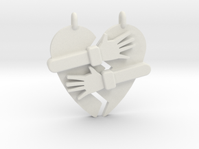 Hold My Heart Pendant (Two-Piece) in White Natural Versatile Plastic
