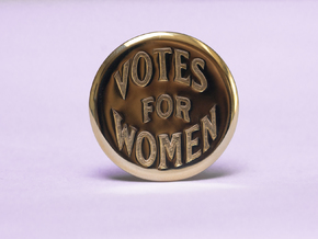 Engraved Votes For Women Clip Button in Polished Brass