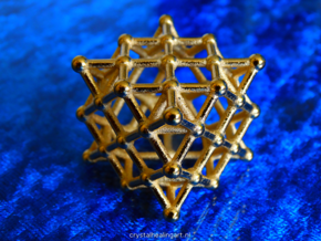 64 Tetrahedron Grid - Surface in Polished Gold Steel