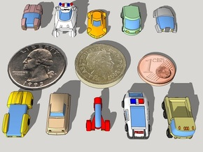 6mm Futuristic Civilian Cars (10pcs) in Smooth Fine Detail Plastic