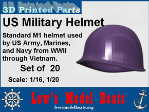 Hemet, US Army, WWII through Vietnam, 1/16 & 1/20  in Smooth Fine Detail Plastic: 1:20
