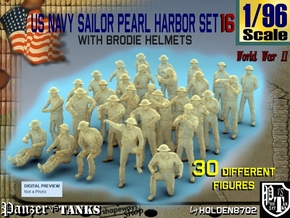 1-96 US Navy Pearl Harbor Set 16 in Smooth Fine Detail Plastic
