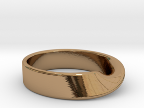 Moebius Strip ring in Polished Brass: 7 / 54