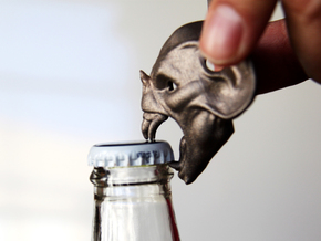 Vampire Head Bottle Opener in Polished Bronzed Silver Steel