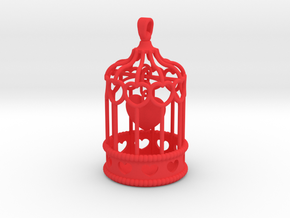 Caged Heart Charm in Red Processed Versatile Plastic